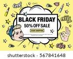 black friday 50  off sale start ... | Shutterstock .eps vector #567841648