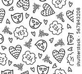 doodles cute seamless pattern.... | Shutterstock .eps vector #567843208
