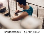top view shot of young man... | Shutterstock . vector #567844510