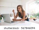 beautiful young woman in...   Shutterstock . vector #567846094
