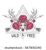 hand drawn boho style design... | Shutterstock .eps vector #567850240