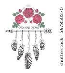hand drawn boho style design... | Shutterstock .eps vector #567850270
