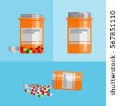 pill bottle with various pills... | Shutterstock .eps vector #567851110