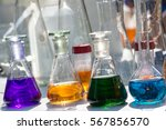 chemical glassware with... | Shutterstock . vector #567856570