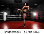 girl boxer making a knee in the ... | Shutterstock . vector #567857368