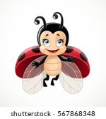 cute ladybug flies on white... | Shutterstock .eps vector #567868348