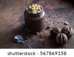 delicious dark chocolate mousse ... | Shutterstock . vector #567869158