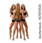 pretty sportswomen in tops and...   Shutterstock . vector #567870520