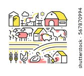 collage with domestic or farm...   Shutterstock .eps vector #567870994