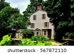 Small photo of Concord, Massachusetts - July 9, 2013: 1770 Olde Manse and gardens in Minuteman National Historic Park, former home of noted American authors Ralph Waldo Emerson and Nathaniel Hawthorne *