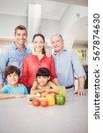 portrait of happy family... | Shutterstock . vector #567874630