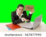 overworked woman wearing a... | Shutterstock . vector #567877990