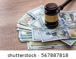 Wooden Gavel With Usa Dollar O...