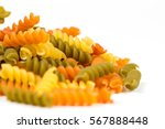 Raw Colored Macaroni Isolated...