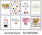 Valentine's day greeting card set with hearts. Gold, black, pink, white colors. Gift tags with gold glitter texture. Hand drawn hearts. Design for valentine and wedding. Hello. Be mine. You and me. | Shutterstock vector #567890080