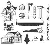 set of lumberjack monochrome... | Shutterstock .eps vector #567890338