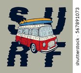 surf   vintage colorful bus... | Shutterstock .eps vector #567891073