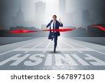 businessman on the finishing... | Shutterstock . vector #567897103