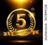 template golden logo 5th... | Shutterstock .eps vector #567899128