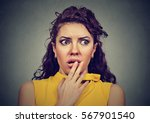 scared shocked woman isolated...   Shutterstock . vector #567901540
