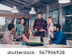 group of  colleagues working at ... | Shutterstock . vector #567906928