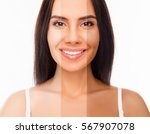 brunette happy woman face with... | Shutterstock . vector #567907078