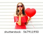 portrait pretty woman in red... | Shutterstock . vector #567911950