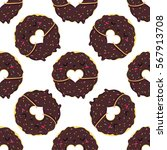 funny cartoon donuts with... | Shutterstock .eps vector #567913708