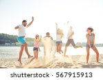 carefree young people having... | Shutterstock . vector #567915913