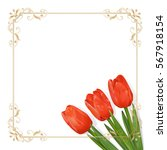 Three Red Tulip In The Lower...