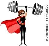 superhero woman standing... | Shutterstock .eps vector #567918670