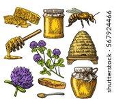 Honey Set. Jar  Bee  Hive ...