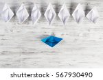 set of origami boats on wooden... | Shutterstock . vector #567930490