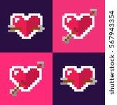 pixel style hearts color... | Shutterstock .eps vector #567943354