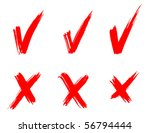 set of red painted ticks | Shutterstock .eps vector #56794444