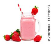 pink strawberry smoothie in a... | Shutterstock . vector #567945448