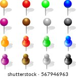 set of push pins in different... | Shutterstock .eps vector #567946963