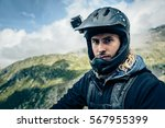 Mountainbiker With Actioncam On Helmet