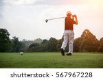 golfers men player golf hit... | Shutterstock . vector #567967228