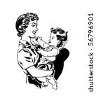 mom holding baby   retro clip... | Shutterstock .eps vector #56796901