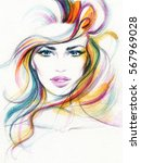 abstract woman face. fashion... | Shutterstock . vector #567969028