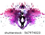red- purple watercolor symmetrical Rorschach blot on a white background
