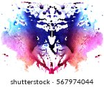 blue watercolor symmetrical... | Shutterstock . vector #567974044