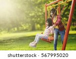 portrait of little daughter and ... | Shutterstock . vector #567995020