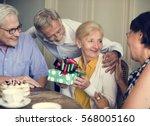 senior life celebration... | Shutterstock . vector #568005160