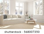 white room with sofa and winter ... | Shutterstock . vector #568007350