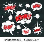 set of speech bubbles with... | Shutterstock .eps vector #568010374
