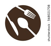 brown plate with cutlery icon... | Shutterstock .eps vector #568021708