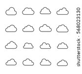 set of cloud icons in modern... | Shutterstock .eps vector #568023130