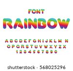 rainbow font. rounded abc.... | Shutterstock . vector #568025296